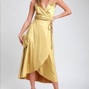 Lulus mustard yellow velvet dress